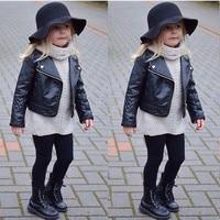 Cool Fashion Bambino Della Ragazza Dei Capretti Abbigliamento Moto PU Giacca di Pelle Biker Cappotto Cappotto Nero Autunno Inverno Manica Lunga Outwear