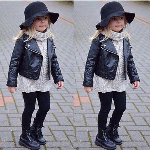 7c5521d9e5 US $15.18 16% di SCONTO|Cool Fashion Bambino Della Ragazza Dei Capretti  Abbigliamento Moto PU Giacca di Pelle Biker Cappotto Cappotto Nero Autunno  ...