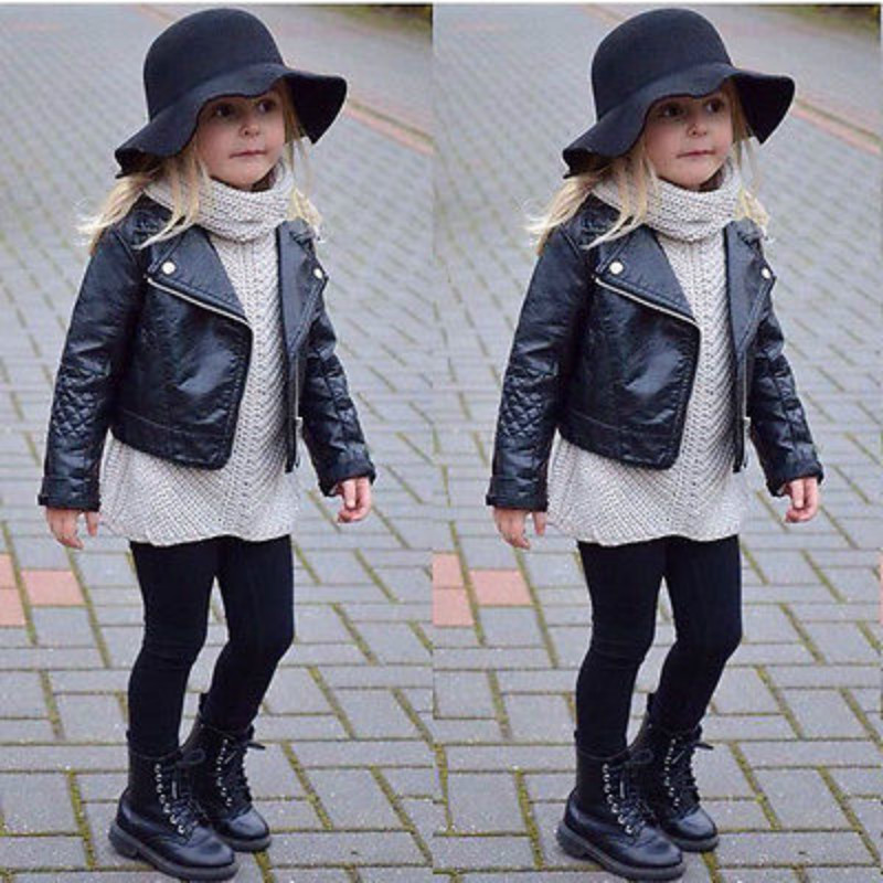 Cool Mode Peuter Kinderen Meisje Kleding Motorfiets Pu Lederen Jas Biker Jas Overjas Zwarte Winter Herfst Lange Mouwen Uitloper