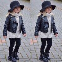 Serin Moda Yürümeye Başlayan Çocuklar Kız Giysileri Motosiklet PU Deri Ceket Biker Ceket Palto Siyah Kış Sonbahar Uzun Kollu Dış Giyim