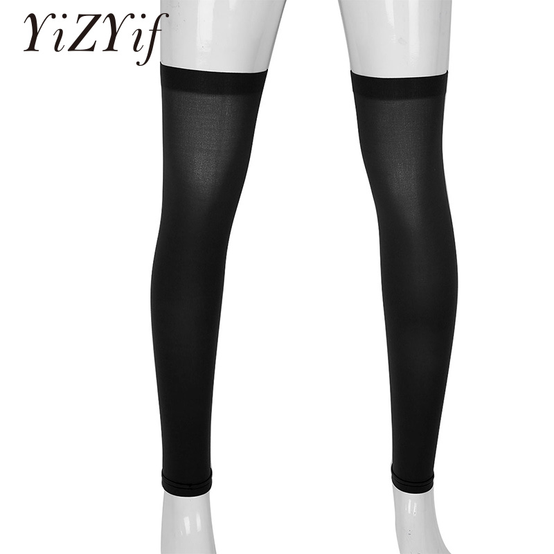 YiZYiF Mens Sexy Stocking Thigh High Full Leg Sleeve Footless Knee Brace Thigh And Calf Support Socks Stretchy Stockings For Men