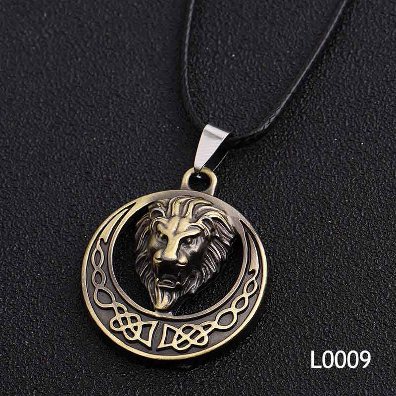 Gold Silver Lion Fashion Cool Skull Men's Pendant Stainless Steel Necklace Alloy Accessories Jewelry Ancient Necklace& Pendant