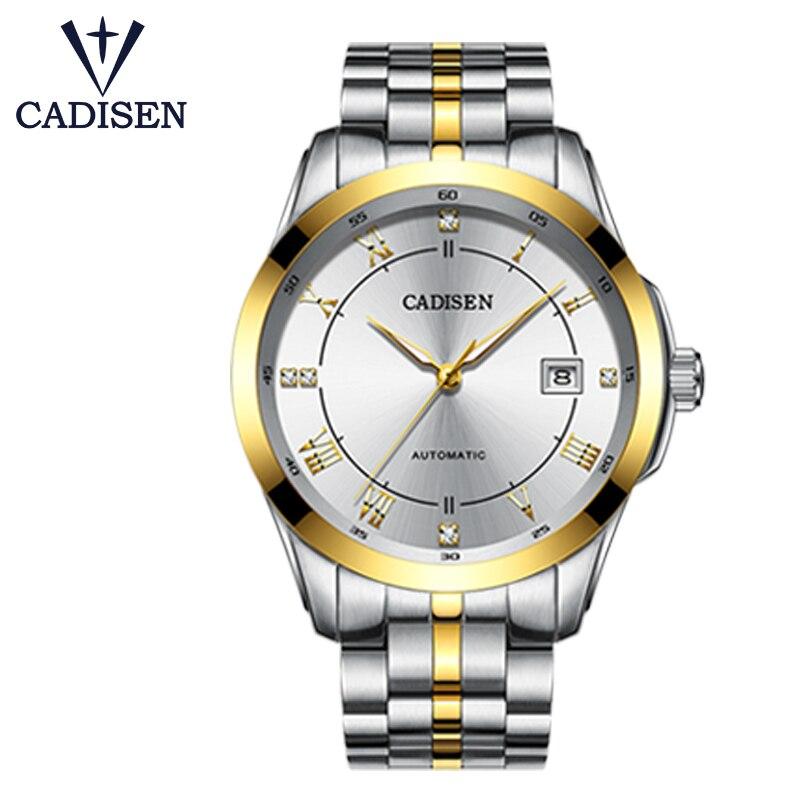 Relojes para hombre CADISEN, relojes mecánicos de acero inoxidable Miyota, relojes de vestir de zafiro de lujo, relojes de pulsera automáticos para hombre-in Relojes mecánicos from Relojes de pulsera    1