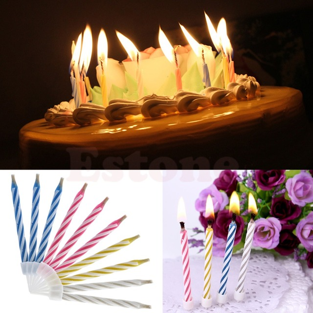U119 10Pcs Magic Relighting Candles For Birthday Fun Party Cake Boy Girls Trick Toys