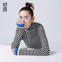 Toyouth 2016 New Arrival Women Casual Pullovers Sweaters Autumn Slim Striped Turtleneck Sweaters