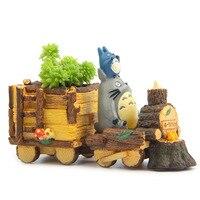 Lokomotywa doniczka żywicy DIY ozdoby lalki kreatywny sadzarki