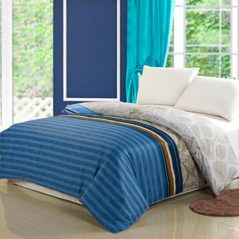 Home Textile 1 Piece Blue Stripes Duvet Cover 100% Cotton Fabric Quilt Cover with Zipper 160x210cm/180x220cm/200x230cm Size