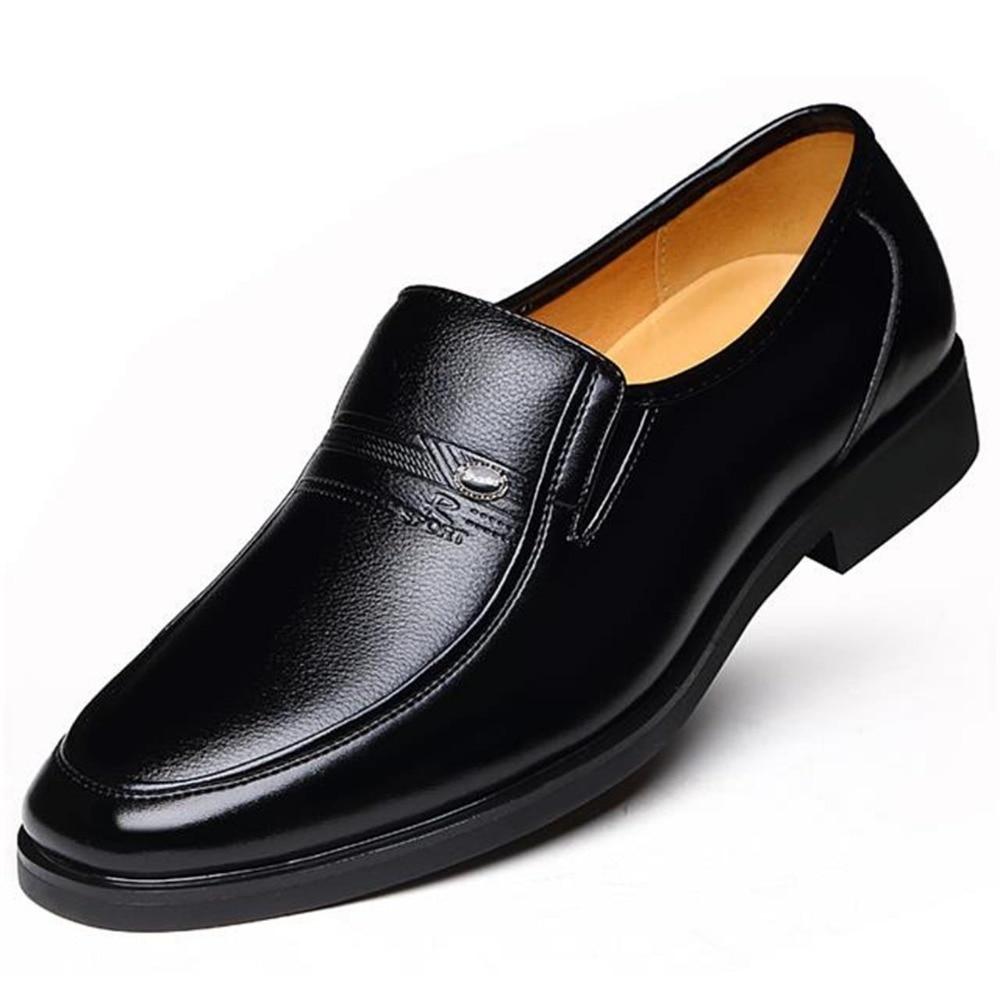 Invierno cálido con terciopelo de zapatos de cuero Hombre Zapatos de vestir de los hombres de negocios clásico cuadrado del dedo del pie zapatos de cuero de los hombres calzado Formal Slip -En