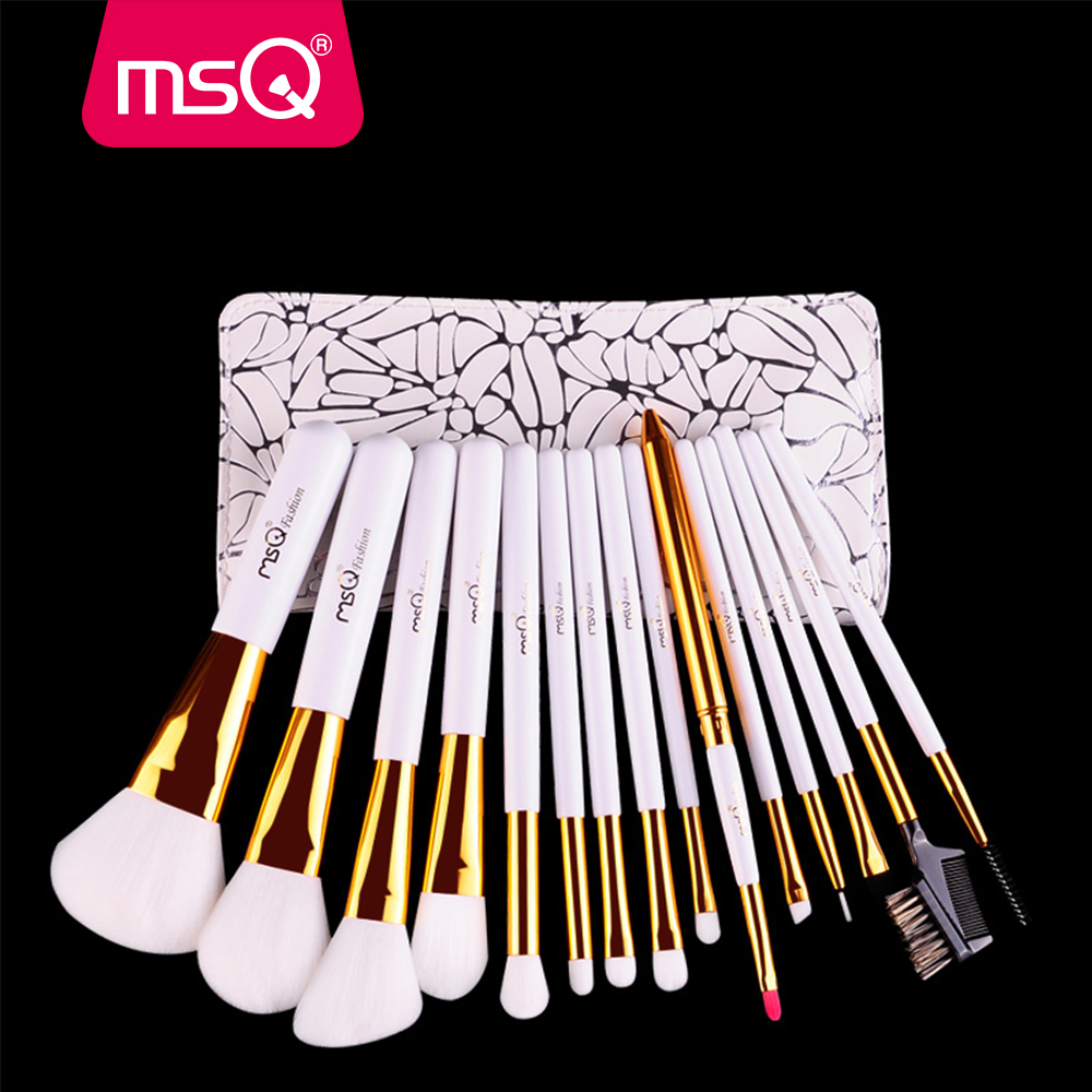 MSQ Makeup Brushes Set Professional 15pcs Soft Synthetic Hair Natural Wood Handle Make Up Brush Kit With PU Leather Case hot sale women 15 pcs soft synthetic hair make up tools kit cosmetic beauty makeup brush black sets with leather case