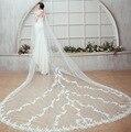 Bride Veils White Applique Tulle 4 meters veu de noiva long wedding veils bridal accessories lace bridal veil SMT16030026M