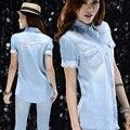 Бесплатная доставка с коротким рукавом мода джинсовая блузка женщин рубашка 2017 лето Sml качество обещал