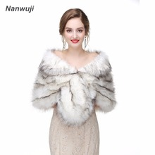 2018 Faux Fur Wrap Evening Stoles And Wraps Faux Fur Shrug Wedding Jacket Bolero Wedding Bolero Bridal Winter Coat blue flower girl faux fur cape child kid winter jacket hooded wrap bolero with hand muff evening prom coat outwear cloaks