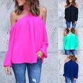 2016 New Autumn Women Halter Off-shoulder Long Sleeve Sexy Top T-shirt Summer Shirt Tops