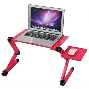 Image 4 - Taşınabilir katlanabilir ayarlanabilir Laptop için katlanır masa masaüstü bilgisayar mesa para dizüstü standı Tepsi çekyat Siyah veya Kırmızı