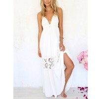 Summer Maxi Dress V Neck Hollow Out Dress Sexy Blackless Women Clothing Casual Sleeveless Strap Lace Dresses Female Vestidos