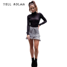YELL ROLAN Women Plaid Skirt Female Summer Mini Skirt New Design Asymmetrical Belt Skirts Office Lady Formal Short Skirt