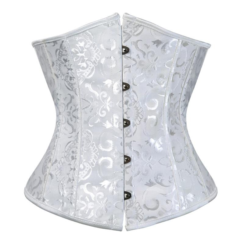 Women's Lace Up Boned Jacquard Brocade Waist Training Underbust Corset Waist Trainer Corset Shaper for Weight Loss Plus Size