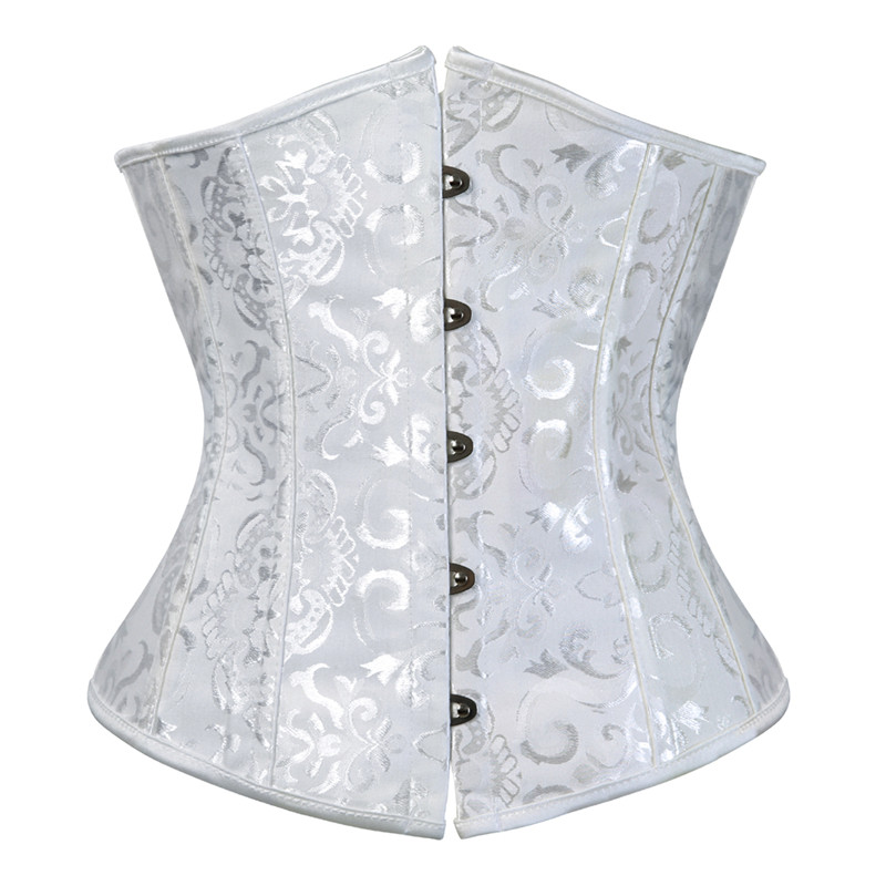 Women's Lace Up Boned Jacquard Brocade Waist Training Underbust   Corset   Waist Trainer   Corset   Shaper for Weight Loss Plus Size