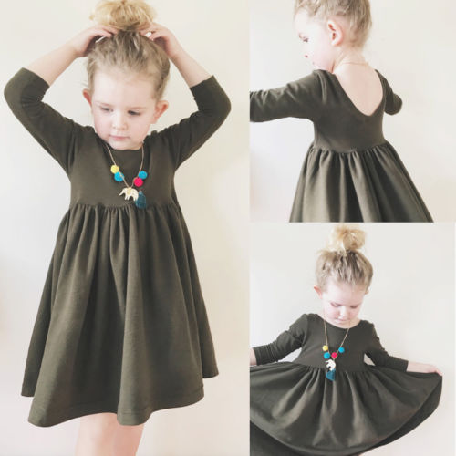 Baby Girls Toddler Casual Solid Army Green Ruched Dress Cotton Children Clothes Onepiece