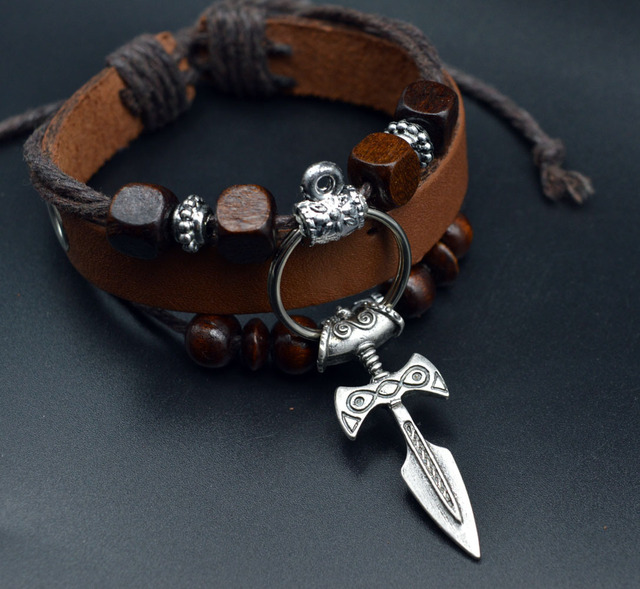 Mens Viking Leather Bracelet Nordic Sword Viking Norse Viking