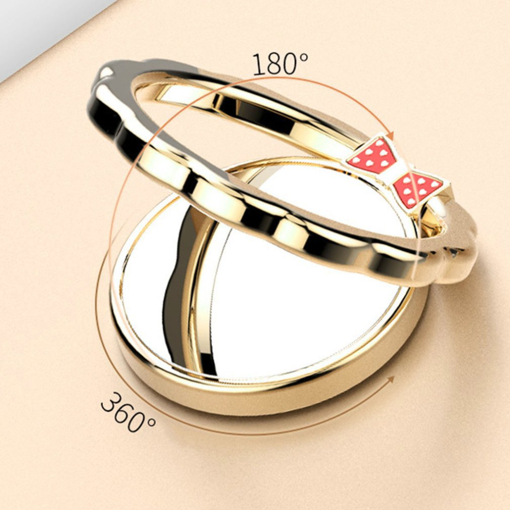 Beautiful 360 Degree Rotation Phone Stand Holder Bowknot Decorate Mirror Surface Finger Ring Holder For Smartphones