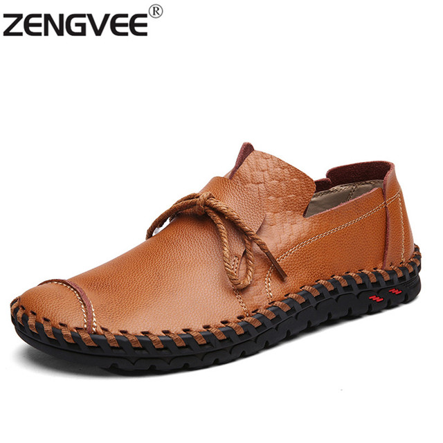 Men's Lace Up Loafer Shoes Genuine Leather Slip-Ons Brand New