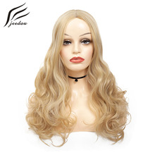 jeedou Synthetic Long Wavy Hair Wig Middle Part Hairstyles 2