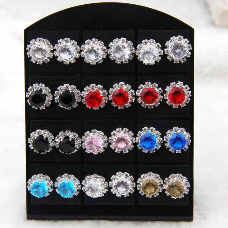 2018 new Korean version of the best selling earrings claw flowers round zircon earrings female jewelry wholesale 1 pair