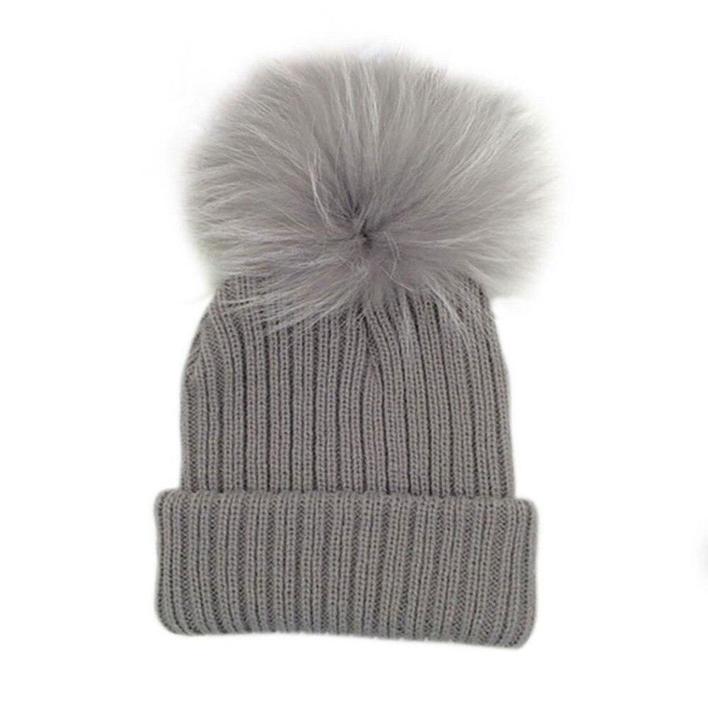 купить Kids Candy Color Pom Pom Beanie Cap Winter Warm Boys Girls Fur Pompom Hat Children Soft Knitted Warm Bonnet Hats дешево
