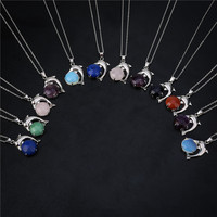 2018 Women's Necklace Blue Dolphin Cute Pendant Inlay Cubic Zirconia Chain Jewelry For Women As A Gift