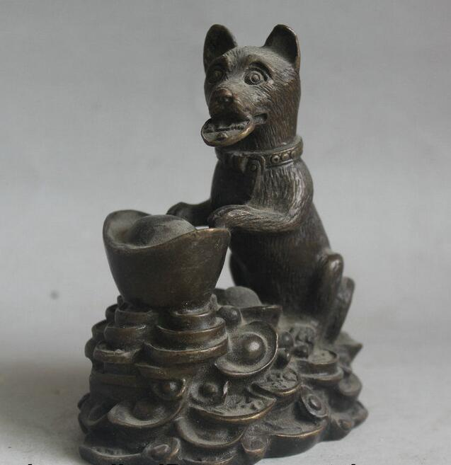 free Old Chinese Bronze Feng shui Zodiac Year Dog Yuanbao Wealth Statue Sculpture fast