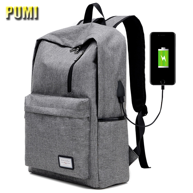Men Women USB Charge Canvas Backpack Large Capacity College Student 14 15 16 Inch Laptop Computer Bag Casual School Bag Rucksack 2016 new style canvas leather patchwork fashion student school stachel book 15 inch travel shopping laptop computer backpack bag