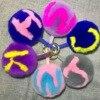 11CM Bunny Fur Ball Fluffy Initial Pom Pom Keychain Handmade Rabbit Fur Ball Key Chains Bag