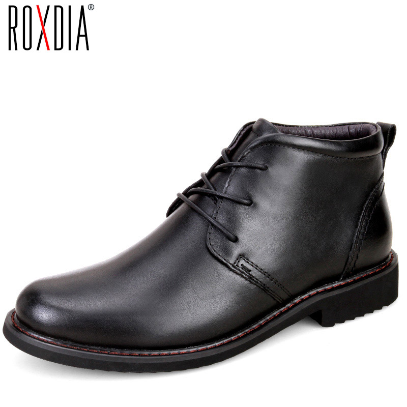 ROXDIA genuine leather men boots snow winter causal  warm work shoes male mens waterproof ankle boot plus size 39-45 RXM049 men boots 2015 men s winter warm snow boots genuine leather boots with plus velvet shoes high quality men outdoor work shoes