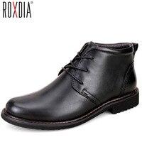 ROXDIA hakiki deri erkekler boots kar kış nedensel sıcak iş ayakkabıları erkek erkek su geçirmez ayak bileği çizme artı boyutu 39-45 RXM049