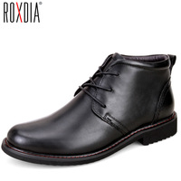 ROXDIA Genuine Leather Men Boots Snow Winter Causal Warm Work Shoes Male Mens Waterproof Ankle Boot