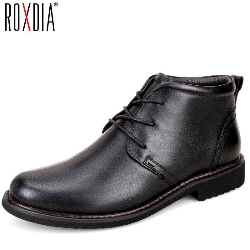 Roxdia натуральная кожа мужские ботинки зимние повседневные Теплые Рабочая обувь мужские водонепроницаемые полусапожки плюс размер 39–45 rxm049
