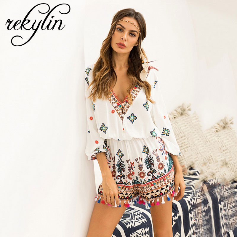 Lily Rosie Girl Off Shoulder Flare Sleeve Summer Playsuit Print Floral Boho Beach Playsuit Women White Short   Jumpsuit   Rompers
