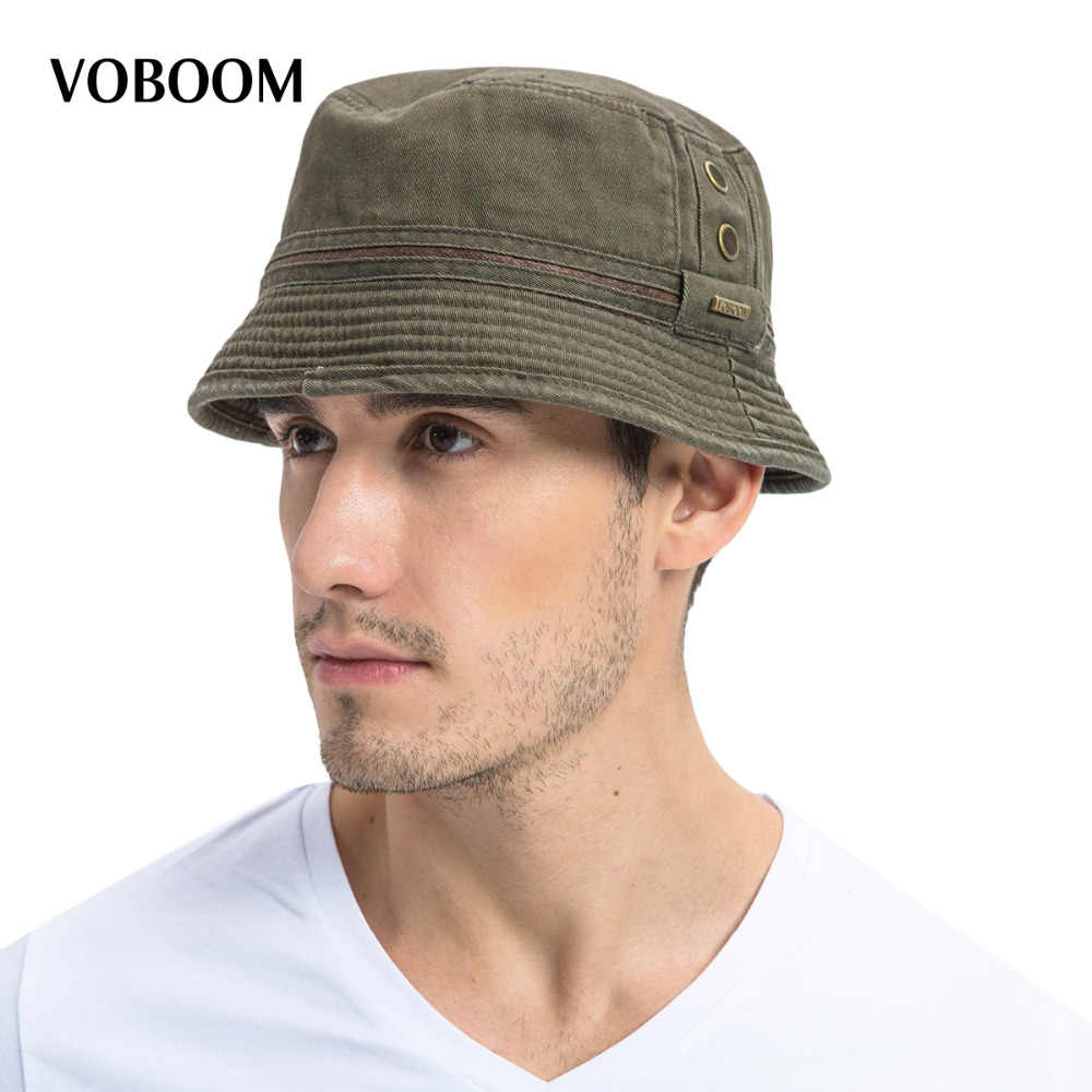 VOBOOM Summer Sun Bucket Hat Cotton Men Women Breathable Panama Fishing Cap  102 90cdd63fc2ea
