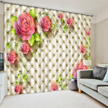 3D Window Curtain Dinosaur print Luxury Blackout For Living Room soft rose curtians