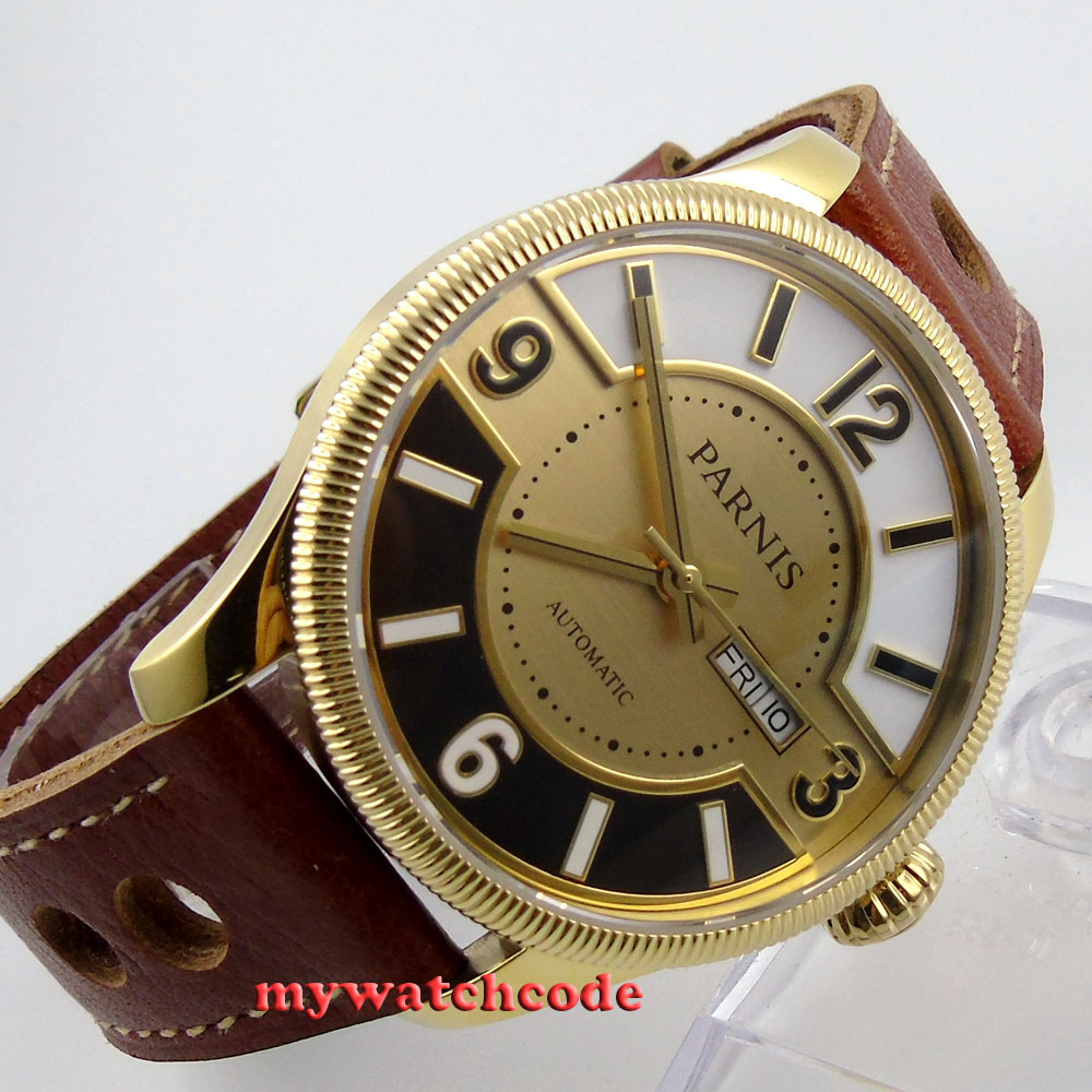 42mm Parnis yellow golden dial Sapphire Glass miyota Automatic mens Watch P410 38mm parnis golden dial sapphire glass miyota automatic mens watch
