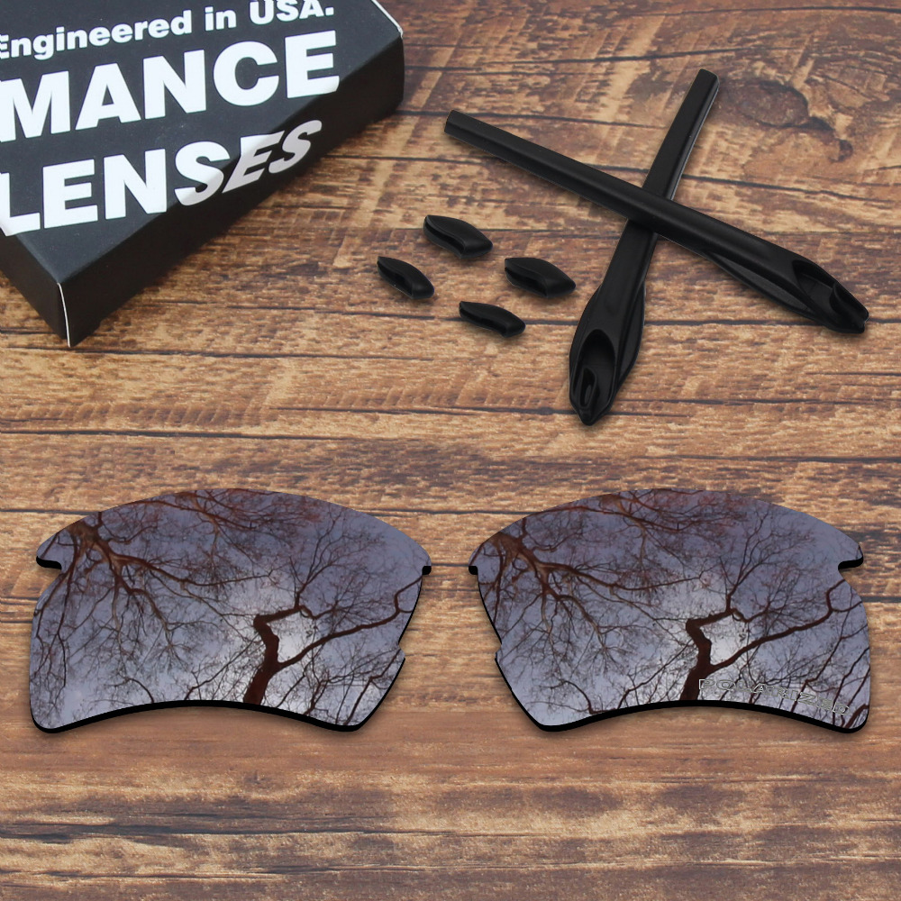 ToughAsNails Resist Seawater Corrosion Brown Polarized Replacement Lenses and Black Ear Socks & Nose Pads for Oakley Flak 2.0 XL