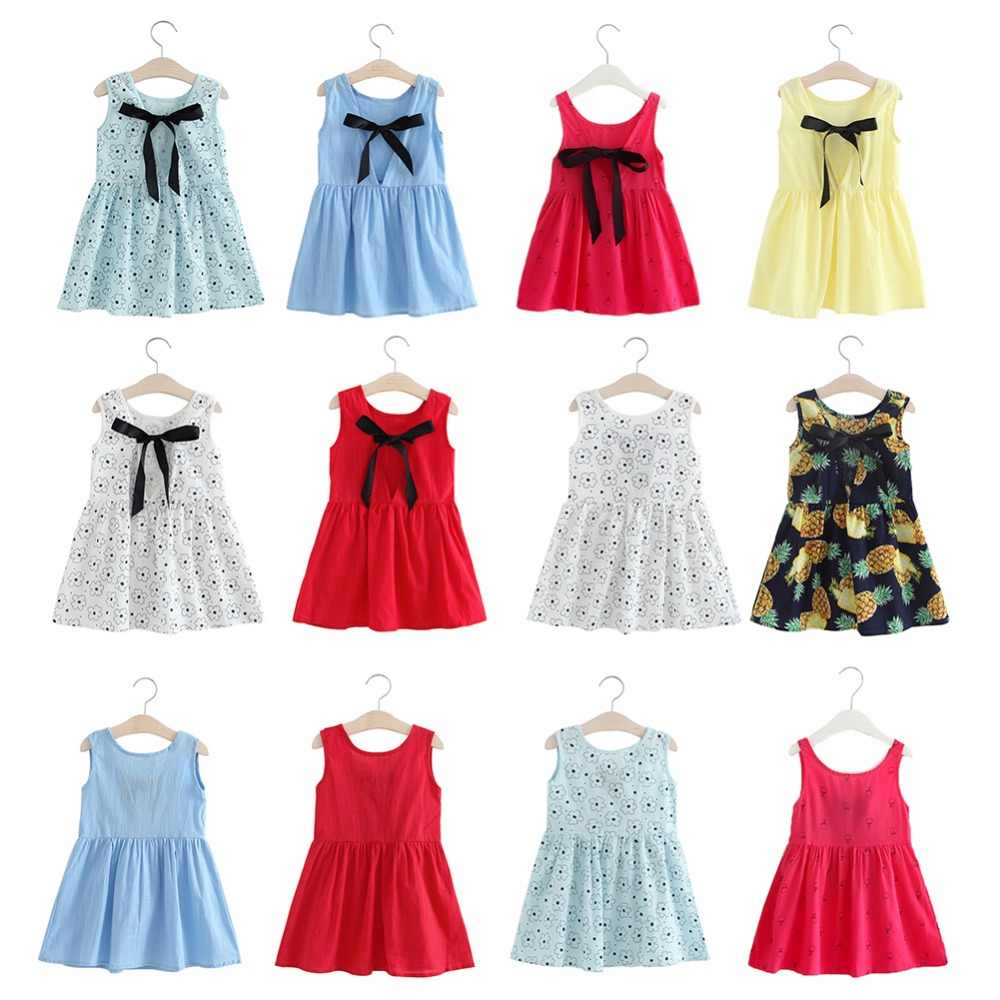 New Girl Dress Summer Girls Clothing Cotton Pure Sleeveless Bow Kids Summer Dresses for baby girls dresses 2018 Drop shipping