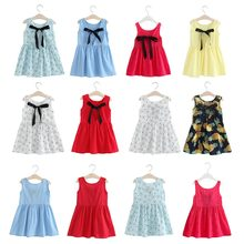 New Girl Dress Summer Girls Clothing Cotton Pure Sleeveless Bow Kids Summer Dresses for baby girls dresses 2018 Drop shipping(China)