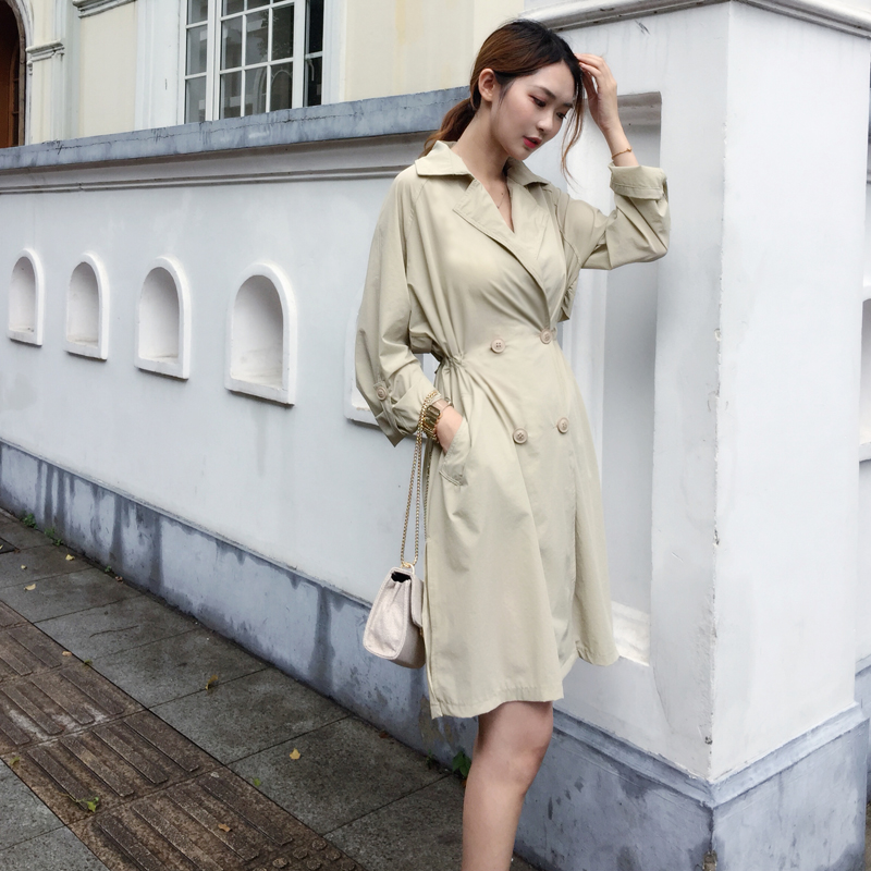 Long New Fall Side khaki Sleeves Apricot With Trench Women Winter Thin Pockets Coat 2018 Breast Double Pengpious tSf7w