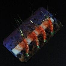 4PCS #6 Orange Color Shrimp Fly Fishing Artificial Shrimps Prawn Bait Lures