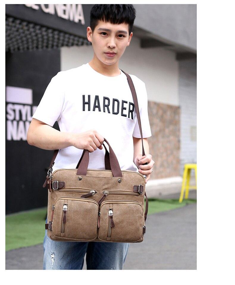 Men Canvas Briefcase Business Laptop Handbag Large Messenger Shoulder Bag Big Casual Male Tote Back Bags Travel Suitcase XA162ZC