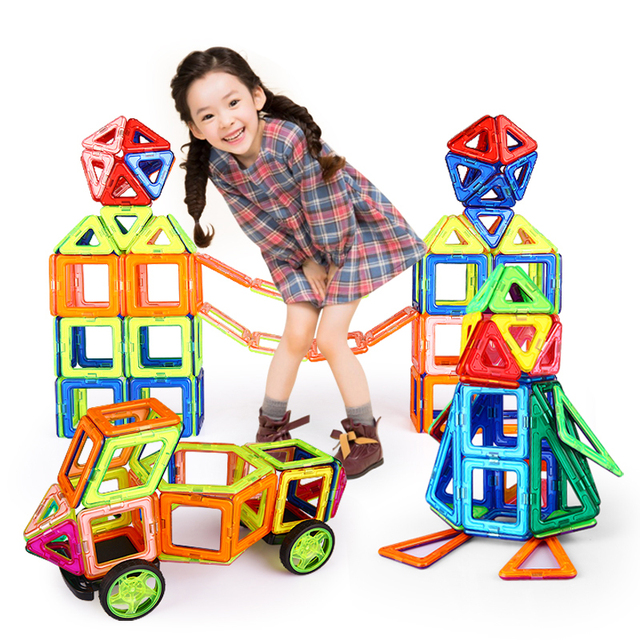Горячая! 56 Шт./компл. Магнитный Конструктор Строительные Блоки Модели и Строительные Игрушки Пластиковые DIY Кирпичи Дети Обучения и Образовательные Игрушки