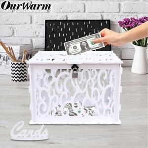 OurWarm DIY Wedding Card Box with Lock PVC White Gift Box Money Box Birthday Party Supplies Baby Shower Decorations