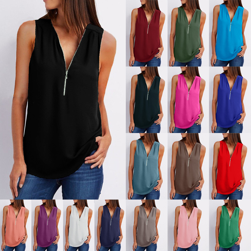 2019 New Summer   Blouse   Women's Clothing Vest Solid Color Sleeveless V-Neck Loose Chiffon   Shirt   Zipper Women Tops